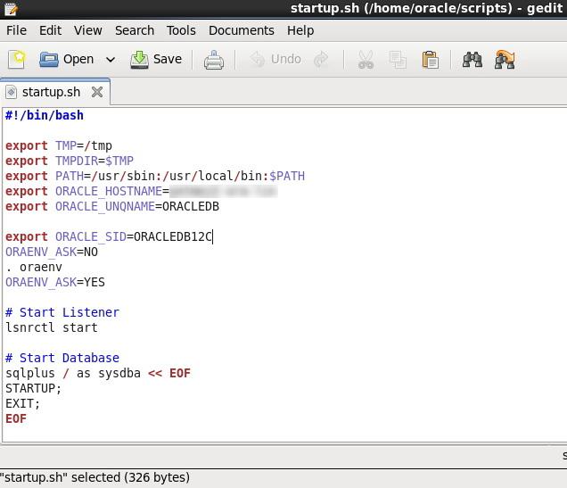 startup.sh (/home/oracle/scripts) - gedit