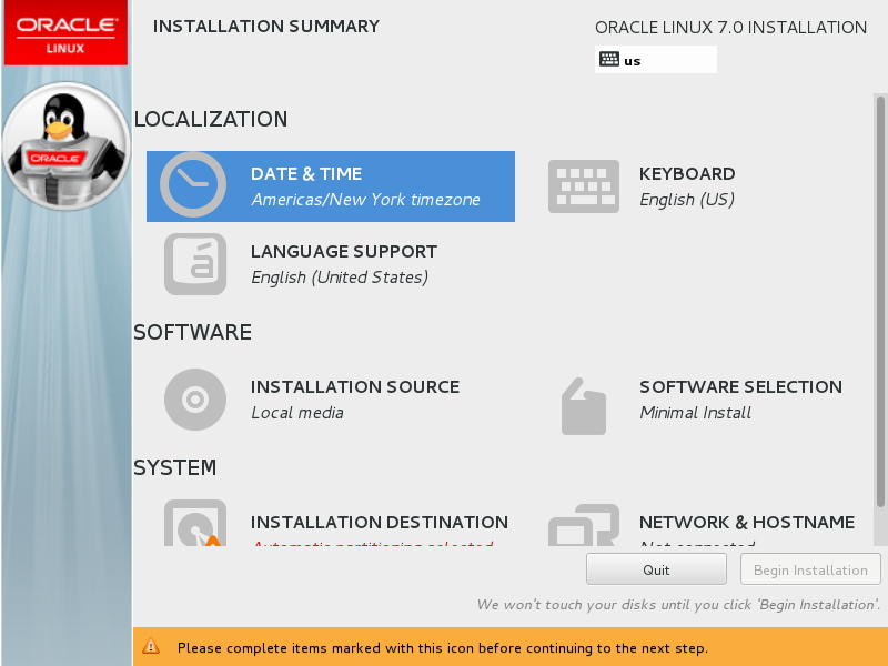 Installation Summary - Localization - Date & Time