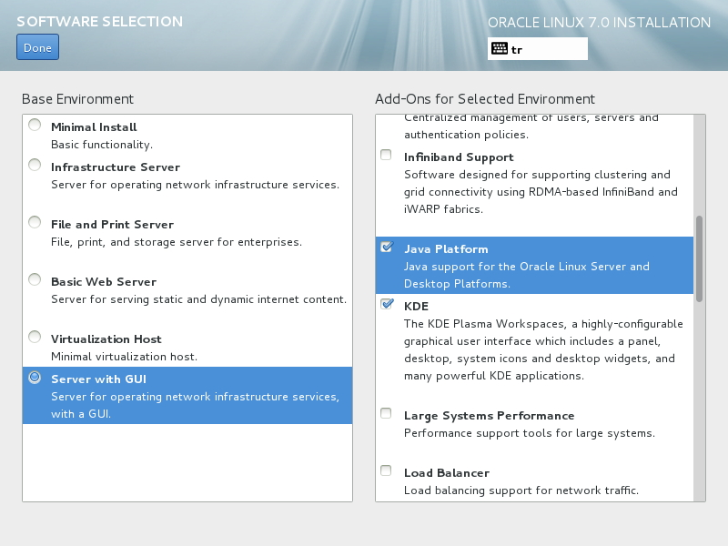 Software Selection - Server with GUI