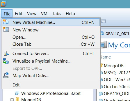 File -> New Virtual Machine…