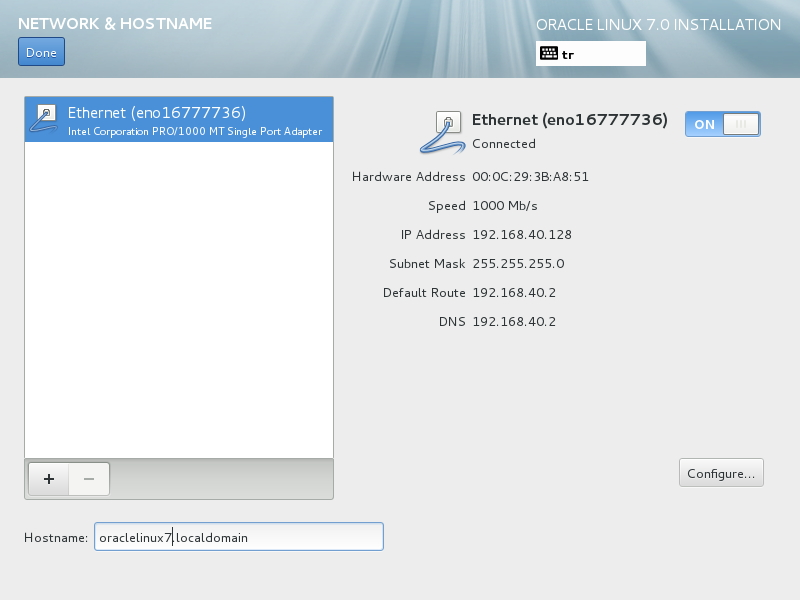 Network & Hostname - Ethernet ON