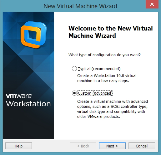 Welcome to the New Virtual Machine Wizard -> Custom(advanced)