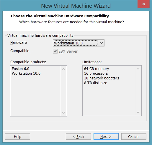 5 - Choose the Virtual Machine Hardware Compatibility