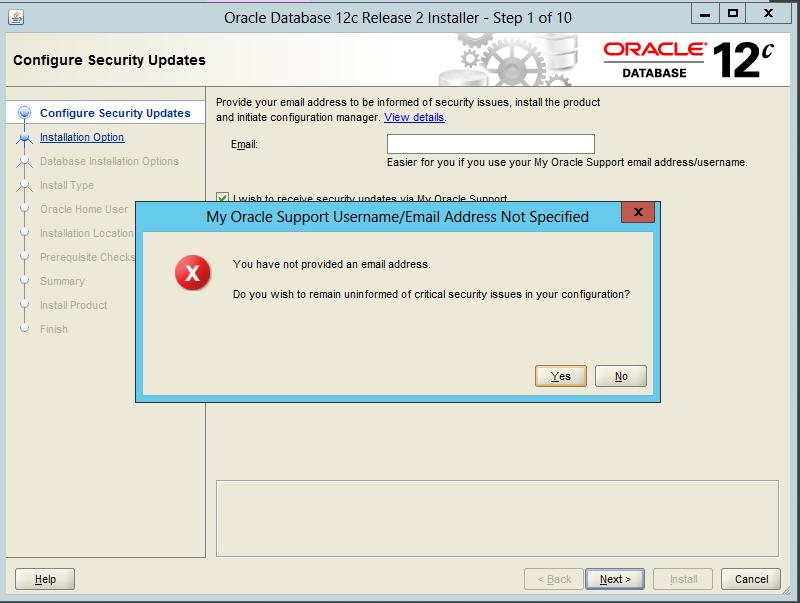 Configure Security Updates adımı