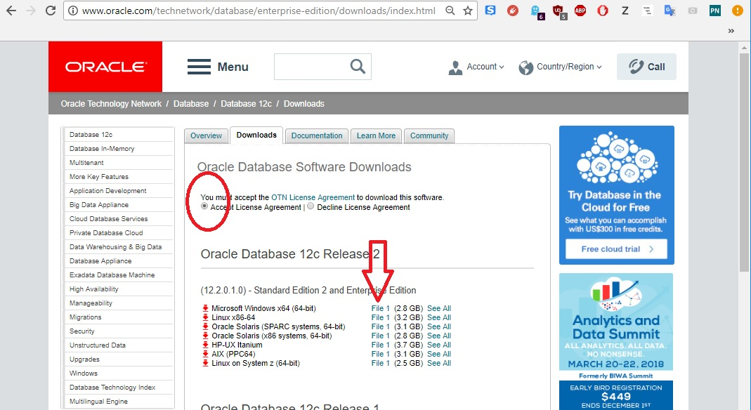 oracle database 12c download linkini göstermektedir.